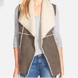 Dylan Shearling Vest in Brown Faux Suede